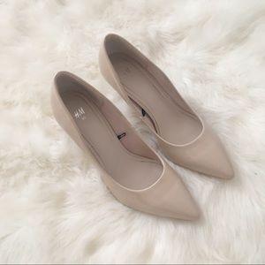 Glossy nude heels